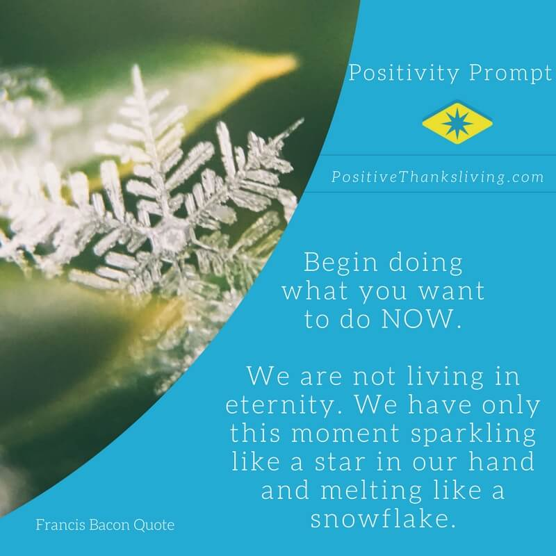 Begin now - the moments melt like snowflakes - we need to make the most of each moment.