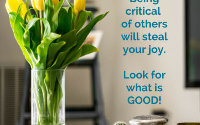 Criticism steals your joy – Instead look for the good!