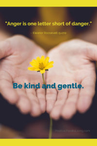 Anger is one letter short of danger - Eleanor Roosevelt quote - - Be kind and gentle instead.